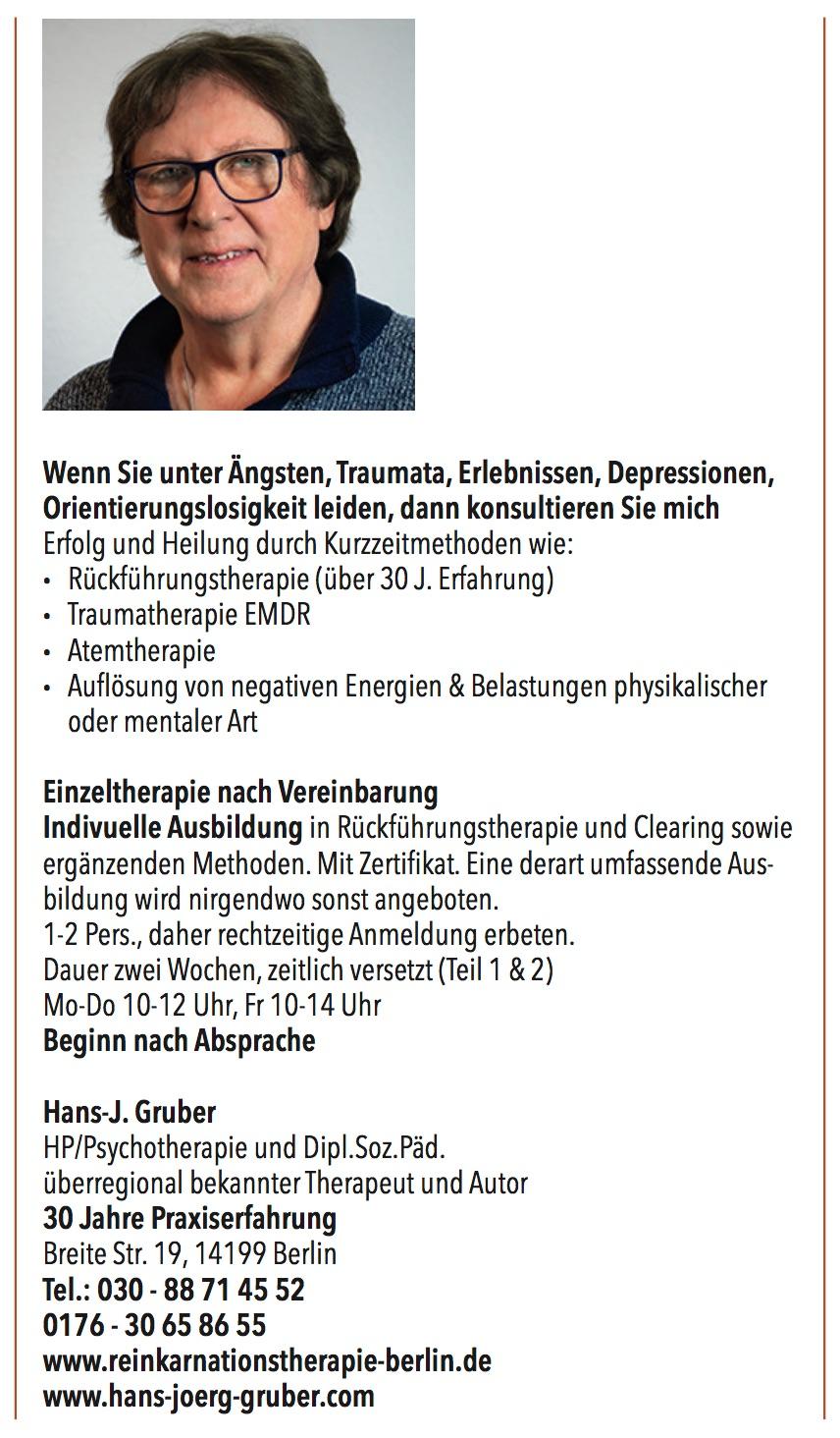 Reinkarnationstherapie, Traumatherapie, Hans-J. Gruber
