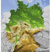 3D Reliefkarte von Deutschland
