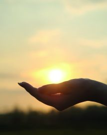 The sunset in hand. Abstract photography in backlit