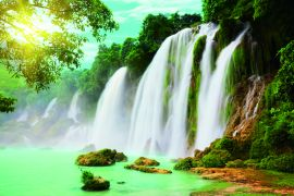 Detian or Ban Gioc waterfall along Vietnamese and Chinese board.