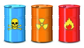 Barrel of chemicals. The poison, radiation, flammable. Vector Illustration.